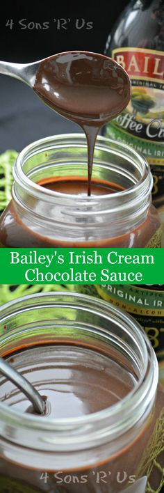 Bailey's Irish Cream Chocolate Sauce | Rich & creamy this fudgey Bailey's Irish Cream Chocolate Sauce is quick, easy, and will knock your socks off with flavor. Perfect over ice cream, donuts, or even stirred into your morning cup of coffee- this sauce is a must-have on hand for a sweet simple moment of indulgence. | 4 Sons R Us
