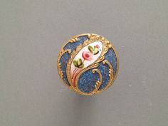 Antique French Enamel Button w A Spatter Background A Pretty Floral Design | eBay