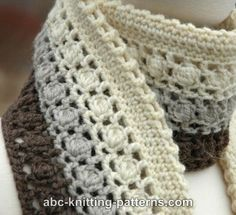 ABC Knitting Patterns - Snowy Evening Bobble Scarf