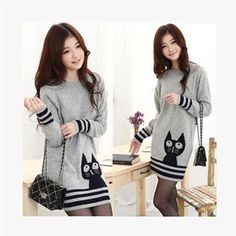 >> Click to Buy << Adorable Cat Pullover Womens Sweater Striped Jumper Holiday Knitwear Knitted Top #Affiliate