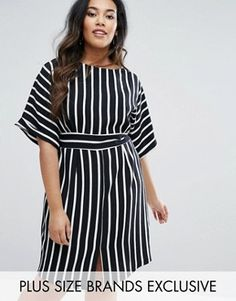 Closet Plus Striped Kimono Sleeve Midi Dress With Tie Back Detail And Split Front