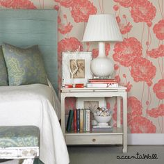 Removable Wallpaper Floral Peony Dark Salmon Peel & Stick Fabric Wallpaper Repositionable