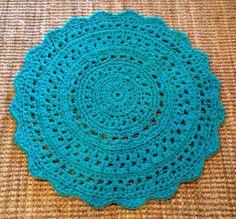 Handmade Tshirt Yarn Turquoise  Round Crochet by BunyetskaHandmade