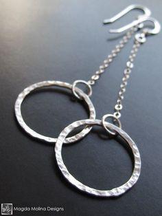 The Hammered Silver Rings On Chains Earrings, mixed metal jewelry, mixed metal earrings, silver earrings, handmade chain earrings Chain Earrings, Beaded Earrings, Earrings Handmade, Silver Earrings, Beaded Jewelry, Silver Ring, Gold Jewellery, Silver Bracelets, Earrings Uk