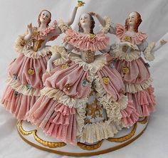 Three Vintage Dresden Fine Porcelain Lace Figurines in Crinoline Dresses . Dresden Porcelain, Fine Porcelain, Porcelain Ceramics, Kintsugi, Dresden Dolls, Dresden China, Half Dolls, Porcelain Jewelry, China Patterns