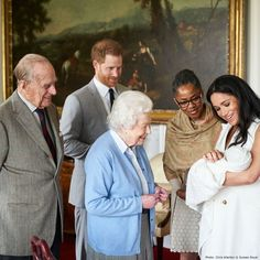 Prince Harry and Meghan Markle introduce Master Archie Harrison Mountbatten-Windsor to Queen Elizabeth, Prince Philip, and Doria Ragland at Windsor Castle