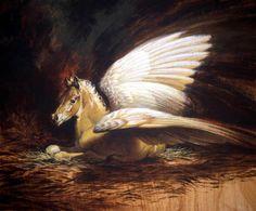 "Ezra Tucker ""Palamino Baby Pegasus Acrylic on Board"" Site: Ezra Tucker - http://illustration.ezratucker.com/Image.asp?CategoryType=Portfolio&Image=57&Category=69&ShowAll=1"