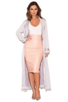 d6d1184d18d56 Clothing : Jackets : 'Coryn' Light Grey Silky Duster Coat House Of Cb,
