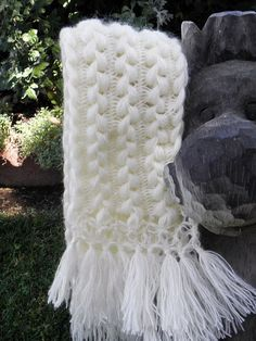 Crochet Hand-made Hairpin Lace Scarf .crochet inspiration ONLY. Broomstick Lace Crochet, Hairpin Lace Crochet, Crochet Motifs, Crochet Shawl, Diy Crochet, Crochet Crafts, Crochet Stitches, Lace Knitting, Knitting Patterns