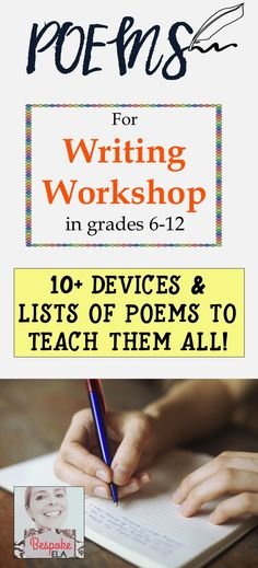 This blog article by Bespoke ELA contains a list of poems to teach the following devices:  alliteration, allusion, anaphora, antithesis, assonance, consonance, epistrophe, imagery, metaphor, parallel structure, personification, rhetorical question, and simile.  Excellent for writing workshop in and close reading in grades 6-12/ middle school and high school English Language Arts.  by Bespoke ELA