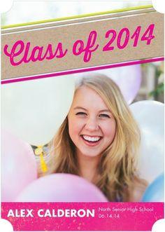 Class Impression - #Graduation Announcements in a hot Fuchsia Pink