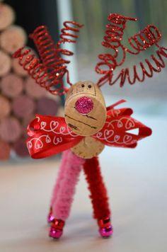 Valentine Reindeer_Wine Bottle Ornament by TheCorkForest on Etsy