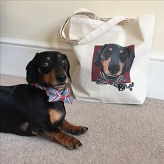Custom pet canvas tote bag with dachshund