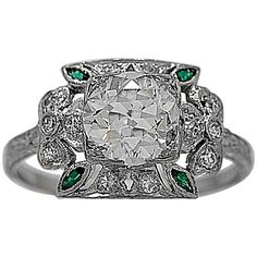 Antique 1.45 Carat Diamond Emerald Platinum Engagement Ring | From a unique collection of vintage engagement rings at https://www.1stdibs.com/jewelry/rings/engagement-rings/