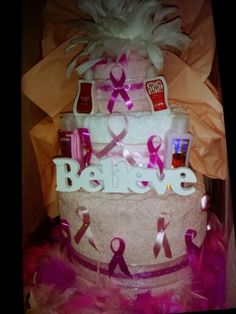 Breast cancer Towel cake
