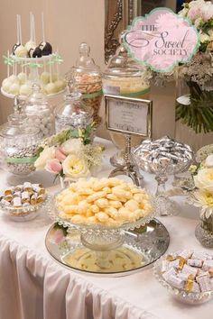 Elegant Wedding Dessert Table  I like frames with description of desserts