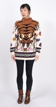 vintage 1980s 1990s TIGER hand knit sweater by MuzukashiiOnna, $58.00