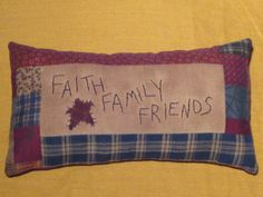 Items similar to Primitive Pillow Tuck - Faith, Family, Friends - Shelf Sitter - Navy & Maroon on Etsy Primitive Embroidery, Primitive Stitchery, Primitive Crafts, Primitive Christmas, Vintage Embroidery, Country Christmas, Christmas Christmas, Sewing Pillows, Pillow Fabric