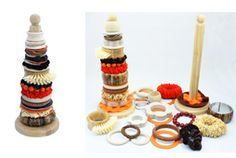 Stacking toys made from kitchen roll holders