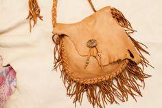 Golden Brown Fringed Leather Bag by SoulLeatherStudio on Etsy, $95.00