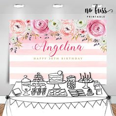 This listing will be emailed to you as a high resolution printable PDF or JPG file. Happy 30th Birthday, 10th Birthday Parties, 80th Birthday, Birthday Party Themes, Themed Parties, Cake Table Birthday, Birthday Backdrop, Engagement Party Decorations, Birthday Decorations