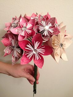 Pink Paper Flower Bouquet with Rhinestones