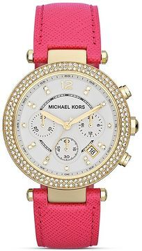 Michael Kors Parker Chronograph Glitz Watch in Pink Leather, 39mm