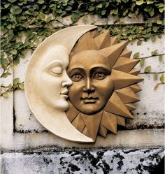 Add a touch of artistic charm to your home with the Design Toscano Celestial Harmony Sun and Moon Wall Decor. This astounding sculpture represents the moon and the sun living together in harmony and hanging a balance. It comes with durability that lasts Moon Decor, Wall Decor, Stars And Moon, Art Soleil, Outdoor Wall Art, Indoor Outdoor, Outdoor Decor, Sun Art, Wall Sculptures