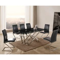 Metz Smoked Glass Dining Table with 4 Sizzle Dining Chairs