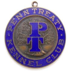 Vintage Large 41Mm Blue Enamel Penn Treaty Kennel Club Medal Pendant Fob*D590