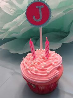 Cupcake toppers I made for my daughter's pink and turquoise cupcake party.