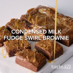 We've taken chocolate brownies and made them next-level amazing, thanks to the addition of condensed milk. Brownie Recipes, Chocolate Recipes, Cake Recipes, Snack Recipes, Dessert Recipes, Snacks, Condensed Milk Recipes, Kid Desserts, Chocolate Brownies