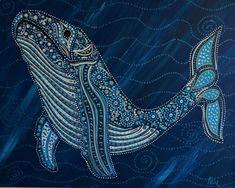 Humpback Whale II Original Painting Beautiful oceanic original art for whale lovers. 16x20 Acrylic on canvas.Varnished. Sides