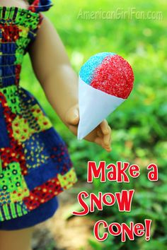 americangirlfan.com Make a pretend snow cone for your doll, or for a kid's play kitchen!
