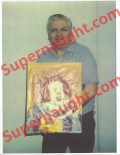 John Wayne Gacy Photo Holding a Pennywise the Clown Painting