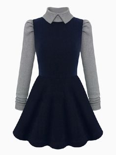 Turtle Neck Contrast Knitted Skater Dress