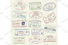Vector icons travel city passport stamp USA Canada. Travel Icons