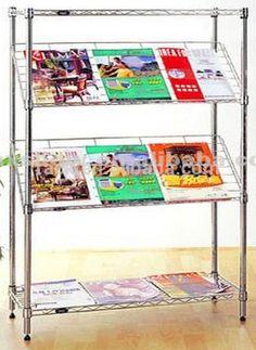 """2F Modern Adjustable Metal Library Newspaper Rack , NSF Approval"""