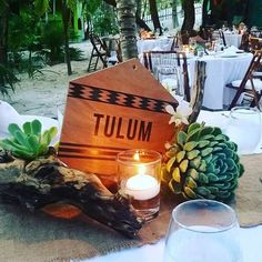 This is one of our favorite centerpieces.  Succulance, wood and candles!  LOVE Tulum wedding by Mindy Rosas, Tulum Living Weddings #tulumlivingweddings  #mindyrosas #weddingcoordinator  #Tulum #Mexico #destinationwedding #tulumwedding  #beachwedding #gaywedding #luxuryweddingstulum #tulumlivingweddings ♡