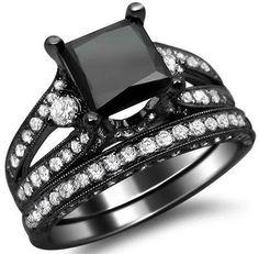 4.10ct Black Princess Cut Diamond Engagement Ring Bridal Set 18k Black Gold / Front Jewelers