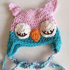 Pink Owl Hat Owl Baby Hat Newborn Girl Hat 100 by QuiltedCupcake, $22.50