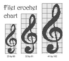 Music sign filet crochet graph, music sign printable counted pattern  PDF - PATTERN ONLY by evascreation on Etsy