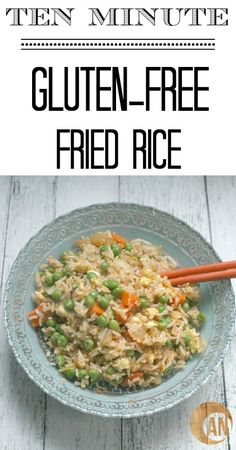 What do you do when you don't want to cook but you don't want to eat gross takeout? You make this easy recipe for gluten-free fried rice! It tastes like Chinese restaurant food but is lower in calories, and free of sugar, and gluten Gluten Free Living, Gluten Free Rice, Gluten Free Dinner, Gluten Free Cooking, Dairy Free Recipes, Real Food Recipes, Asian Recipes, Easy Recipes, Gluten Free Chinese