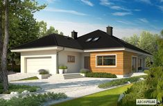 Here you will find photos of interior design ideas. Get inspired! Simple Bungalow House Designs, Bungalow Haus Design, Cottage Style House Plans, Duplex House Plans, Bungalow House Plans, Layouts Casa, House Layouts, Prefabricated Houses, Prefab Homes