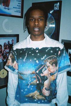 ASAP Rocky wearing Prada Impossible True Love Camp-Collar Printed Cotton Shirt