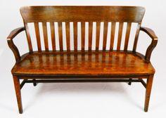 ✵ Antique Quartersawn Oak Slatted Back Bench RARE to Find ✵ | eBay