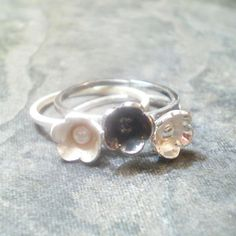 set of 3 BLUM rings sterling silver shiny, frosted, oxidized - stack rings