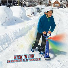 GeoSpace Original LED Ski Skooter: Fold-up Snowboard Kick-Scooter for Use on Snow and Grass, Assorted Colors (Red, Green, or Blue) Winter Hiking, Winter Fun, Winter Sports, Sledding Hill, Summer Vacation Spots, Fun Winter Activities, Kick Scooter, Snowboards, 5 Year Olds