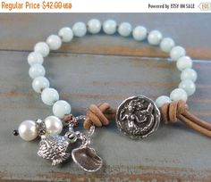 SALE Beachy boho mermaid bracelet, knotted amazonite, Green Girl Studios button, leather, fine silver, stacking bohemian, from MiaBellaJewe
