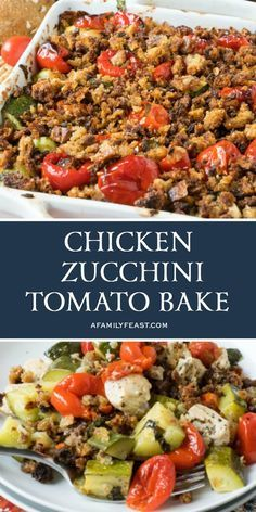 Our Chicken Zucchini Tomato Bake is loaded with flavor. Tender chunks of chicken and zucchini with tomatoes and peppers plus a crispy crumb topping. Chorizo, Chicken Zucchini Casserole, Veggie Casserole, Zucchini Aubergine, Zucchini Tomato, Cooking Recipes, Healthy Recipes, Keto Recipes, Chilli Recipes